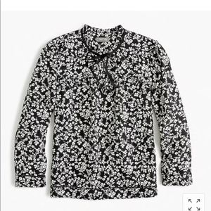 J. Crew Point Sur Silk Popover Floral Shirt Top